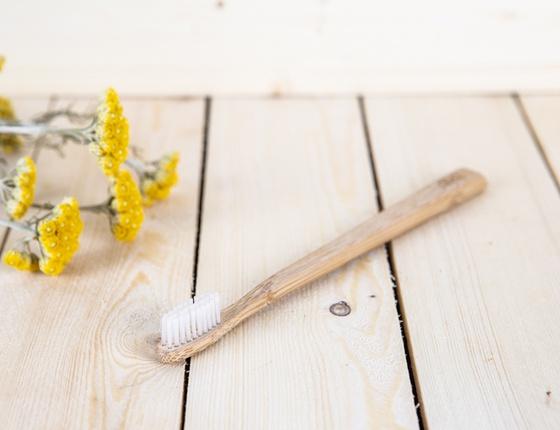Brosse à dents en bambou adulte - poils souples transparents