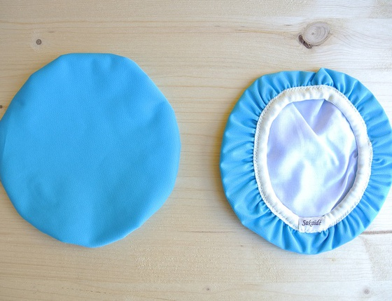 Couvre-plat 17 cm en tissu ciré bleu