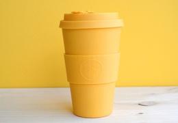 Tasse à café réutilisable en bambou coloris jaune 400ml