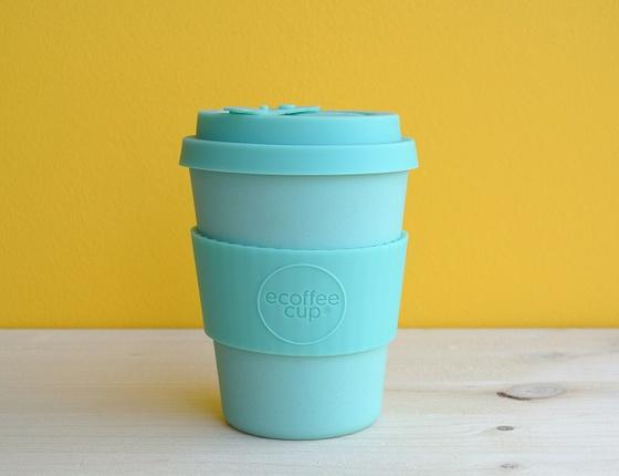 Tasse à café réutilisable en bambou coloris turquoise 340ml