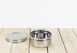 Boîte inox ronde diamètre 8,5 cm