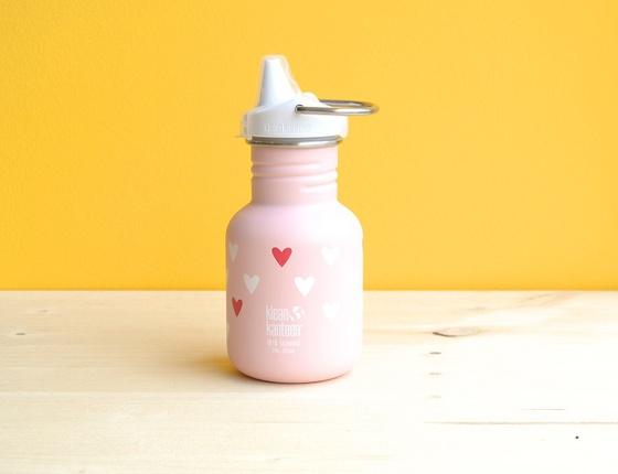 Gourde inox 355 ml simple paroi cœur & son bouchon à bec