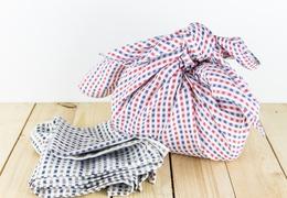 Furoshiki emballage cadeau réutilisable motif carreaux