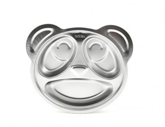 Assiette à compartiments en inox Panda pour enfant