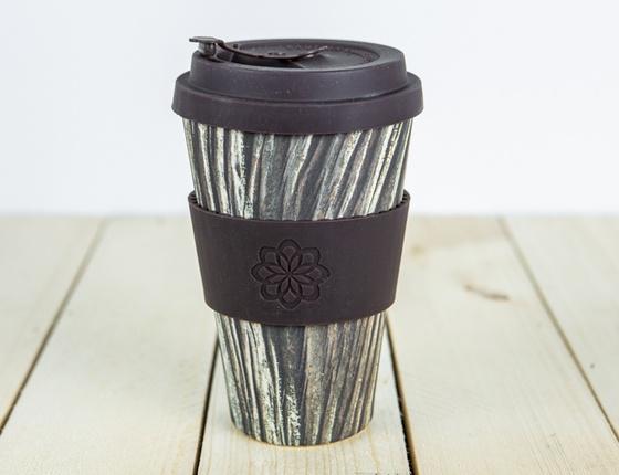 Tasse à café en bambou 400 ml motif bois