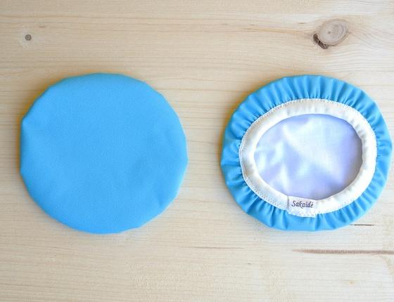 Couvre-plat 14 cm en tissu ciré bleu