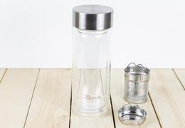 Théière verre 320 ml isotherme avec bouchon acier