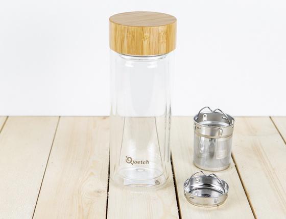Théière isotherme en verre avec bouchon bambou 320 ml