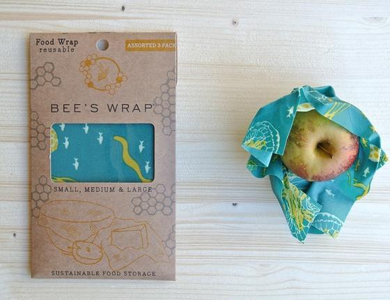 Emballage à la cire d'abeille : lot de 3 tailles S-M-L motif Océan