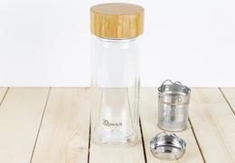 Théière verre 320 ml isotherme avec bouchon bambou
