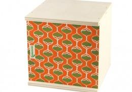 Coffret en bois de peuplier orange & vert