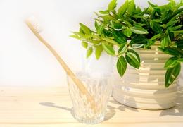 Brosse à dent en bambou adulte - poils médium blancs