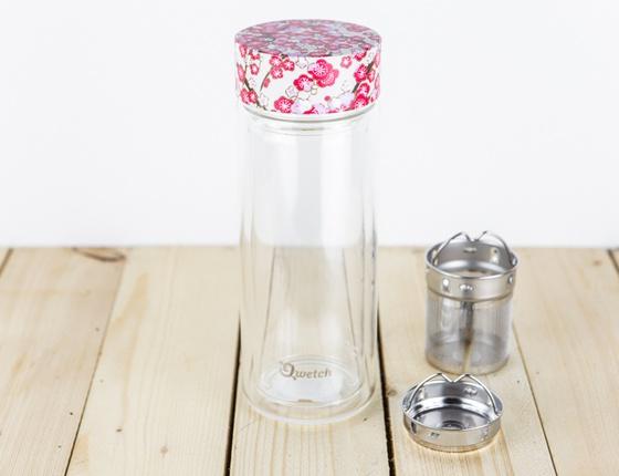 Théière isotherme en verre avec bouchon motifs 320 ml