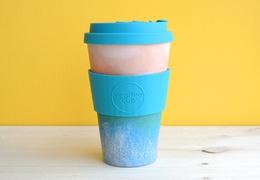 Tasse à café réutilisable en bambou coloris océan 400ml