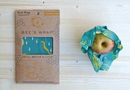 Emballage à la cire d'abeille : lot de 3 tailles S-M-L aux motifs marins