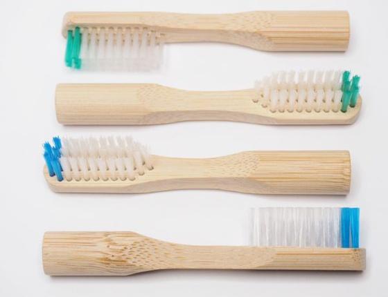 Lot de 2 têtes de brosse à dents rechargeables en bambou - poils médium verts