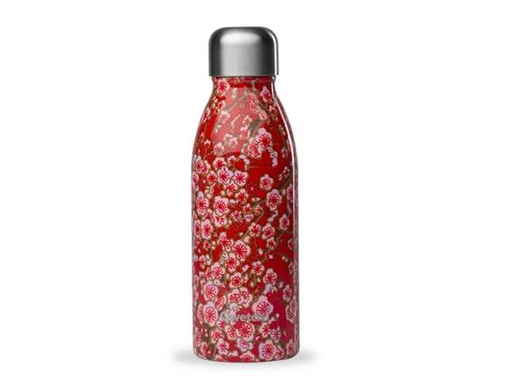 Bouteille inox 500 ml simple paroi fleurs rouges