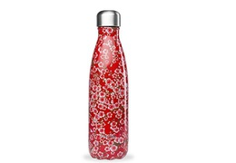 Bouteille inox 500ml fleurs rouges