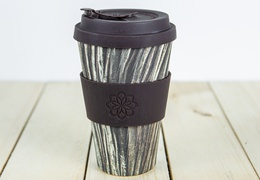 Tasse à café réutilisable en bambou coloris bois 400ml